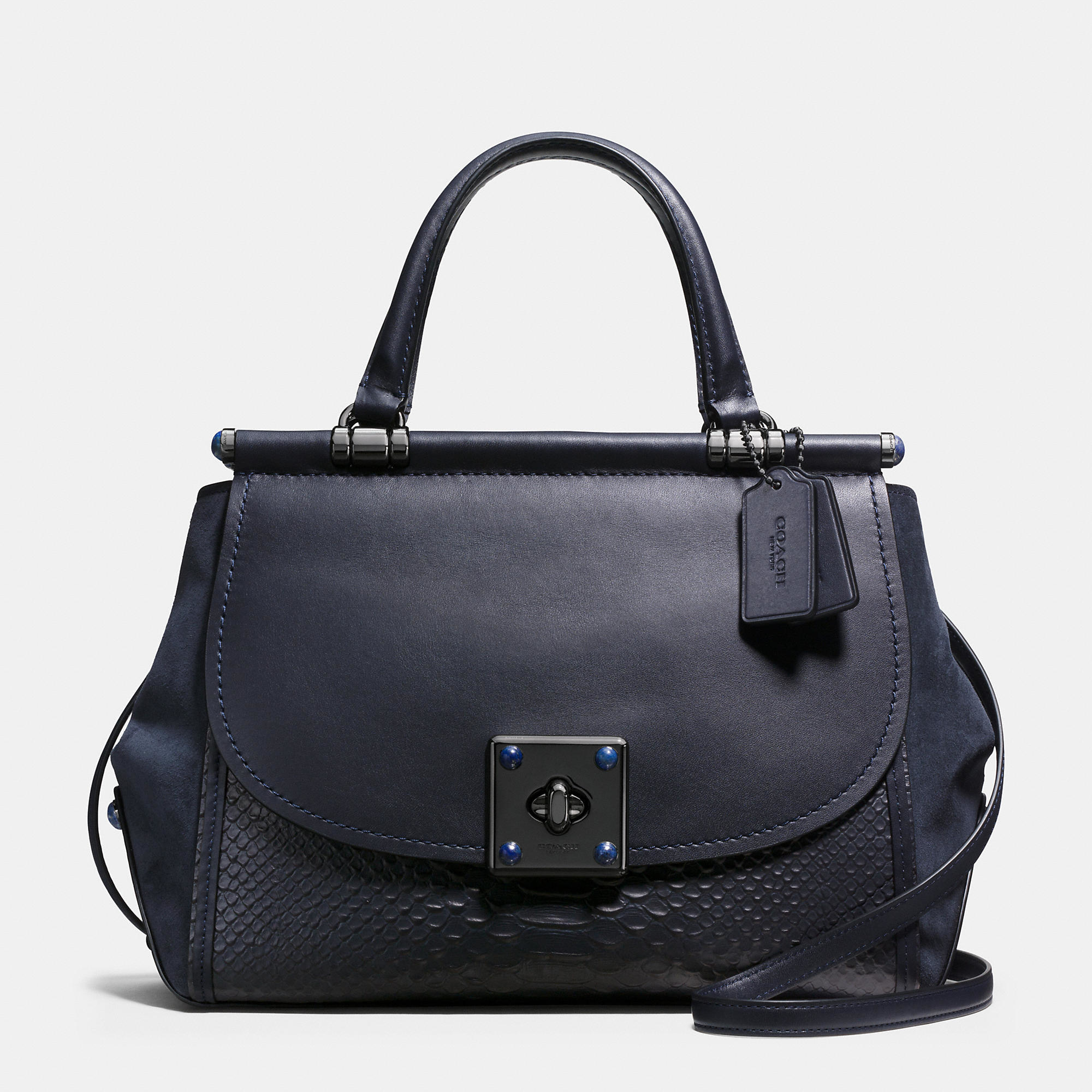 171749e1f Lyst - Coach Drifter Snake-Embossed Leather Top-Handle Bag in Blue