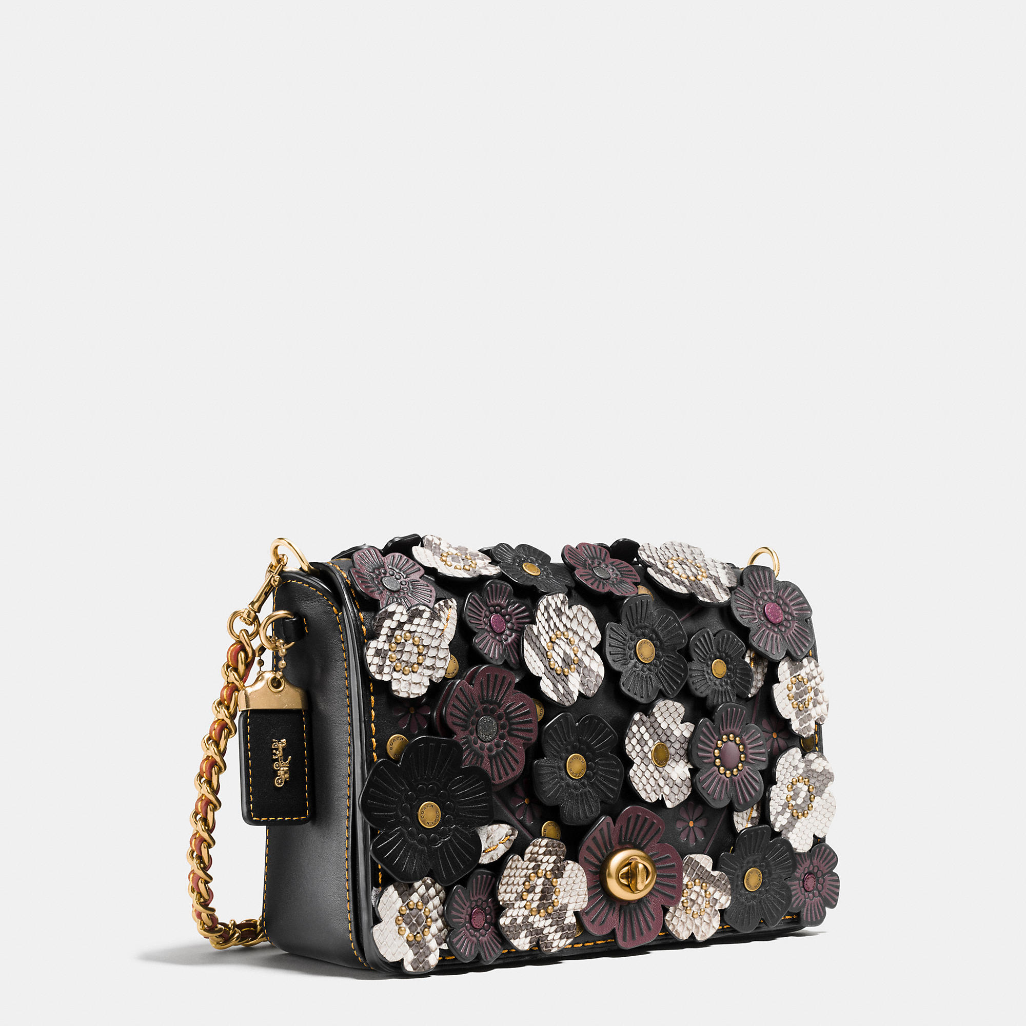 b459cc0beb08 Lyst - COACH Exotic Tea Rose Applique Dinky Crossbody 24 In Glovetanned Leather  in Black