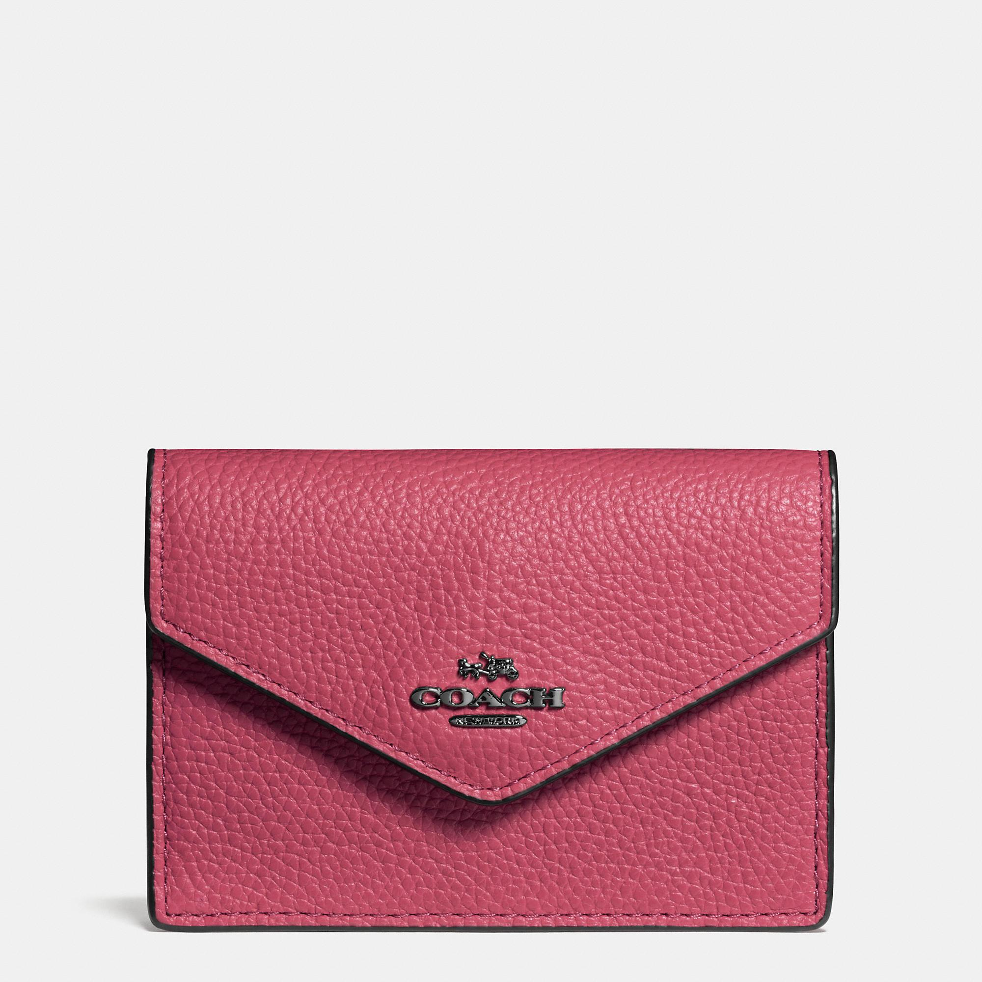 9366eece8d07 Lyst - COACH Envelope Card Case In Polished Pebble Leather