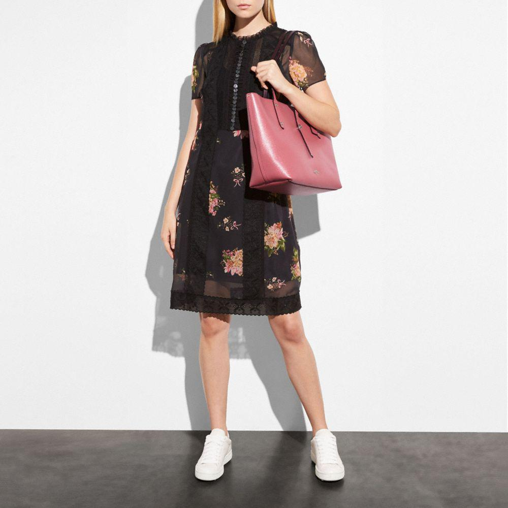 f0f2b6accc Coach Market Tote In Glitter Rose Polished Pebble Leather in Pink - Lyst