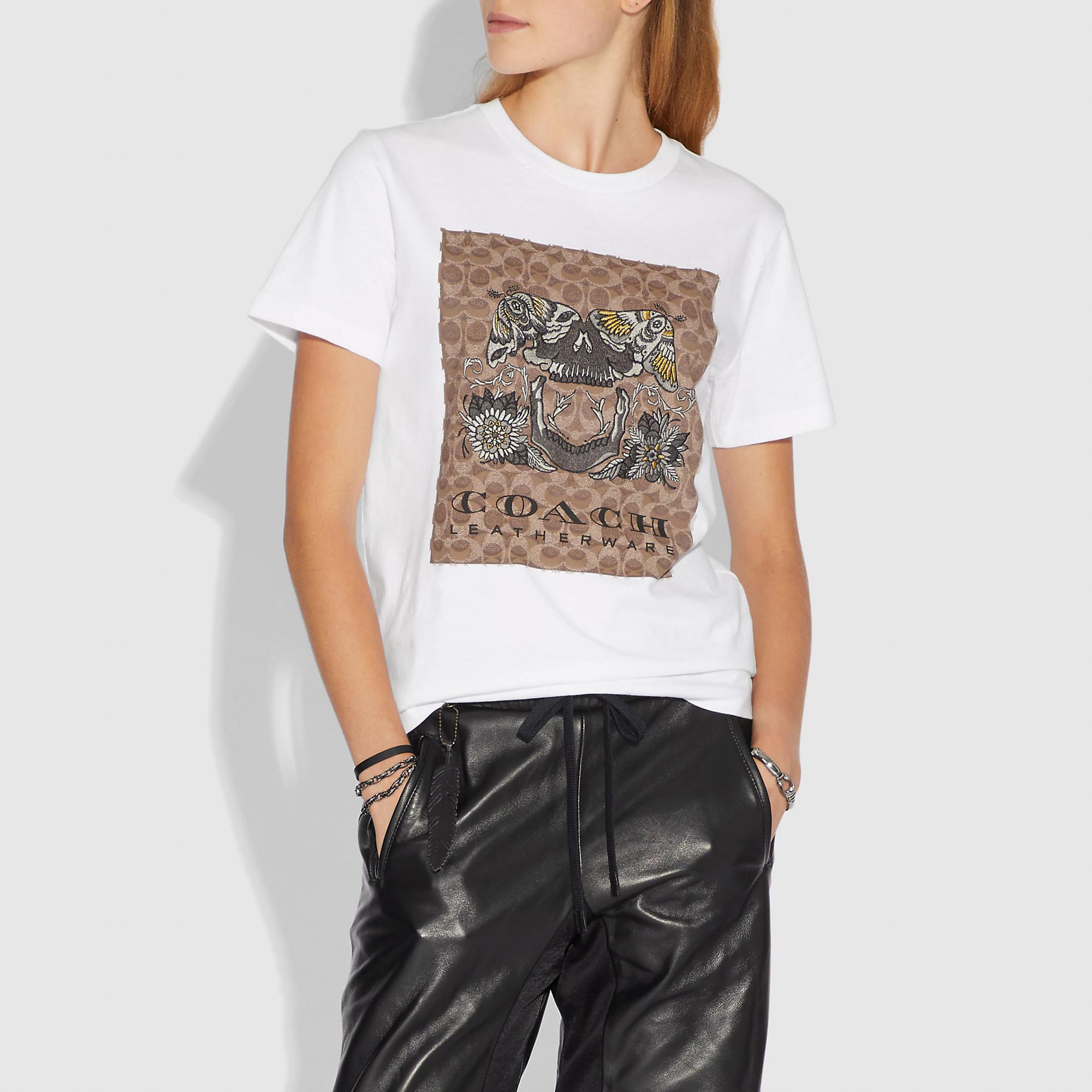 4949b1787eeb7 Lyst - COACH Signature Tattoo T-shirt in White - Save 50%