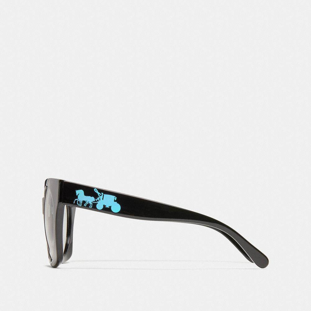 1e7a1a5c91ce COACH Horse And Carriagre Hologram Sunglasses in Black - Lyst