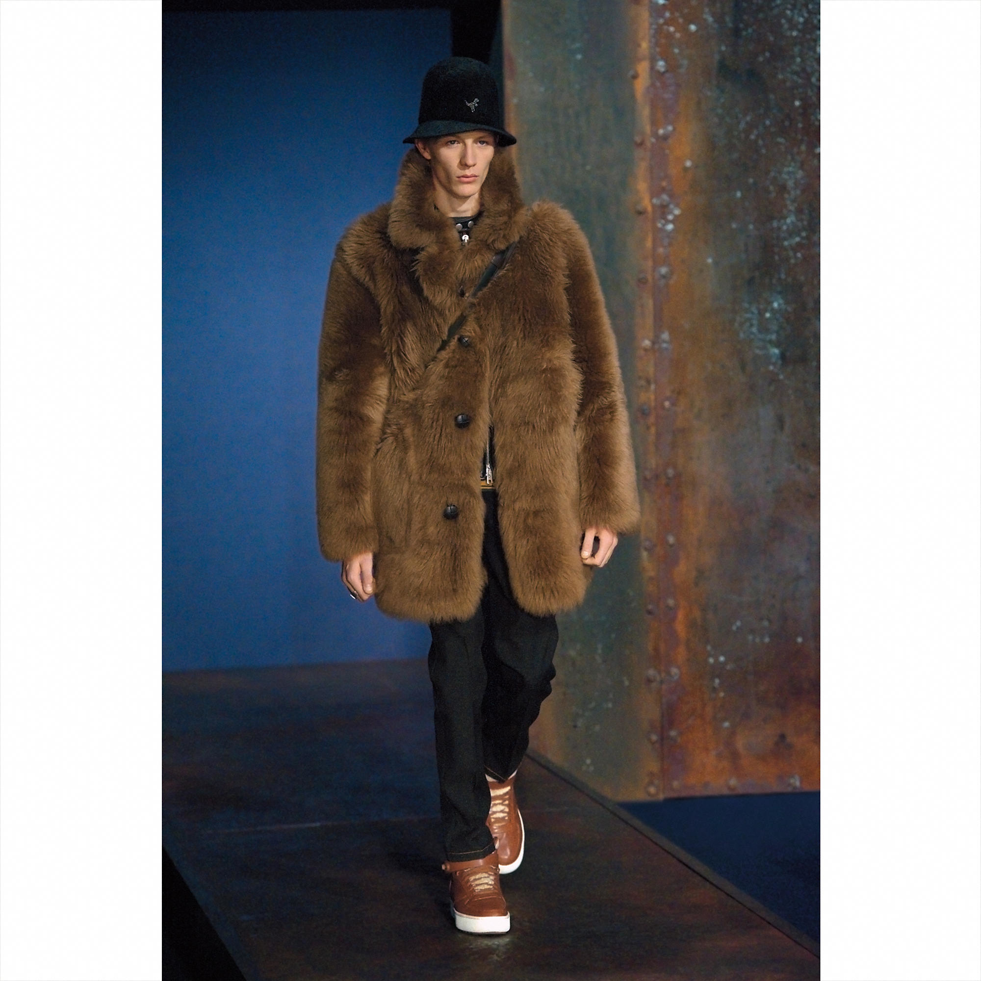 2c99b9500f COACH Leather Toy Soldier Shearling Pieced Coat in Brown for Men - Lyst