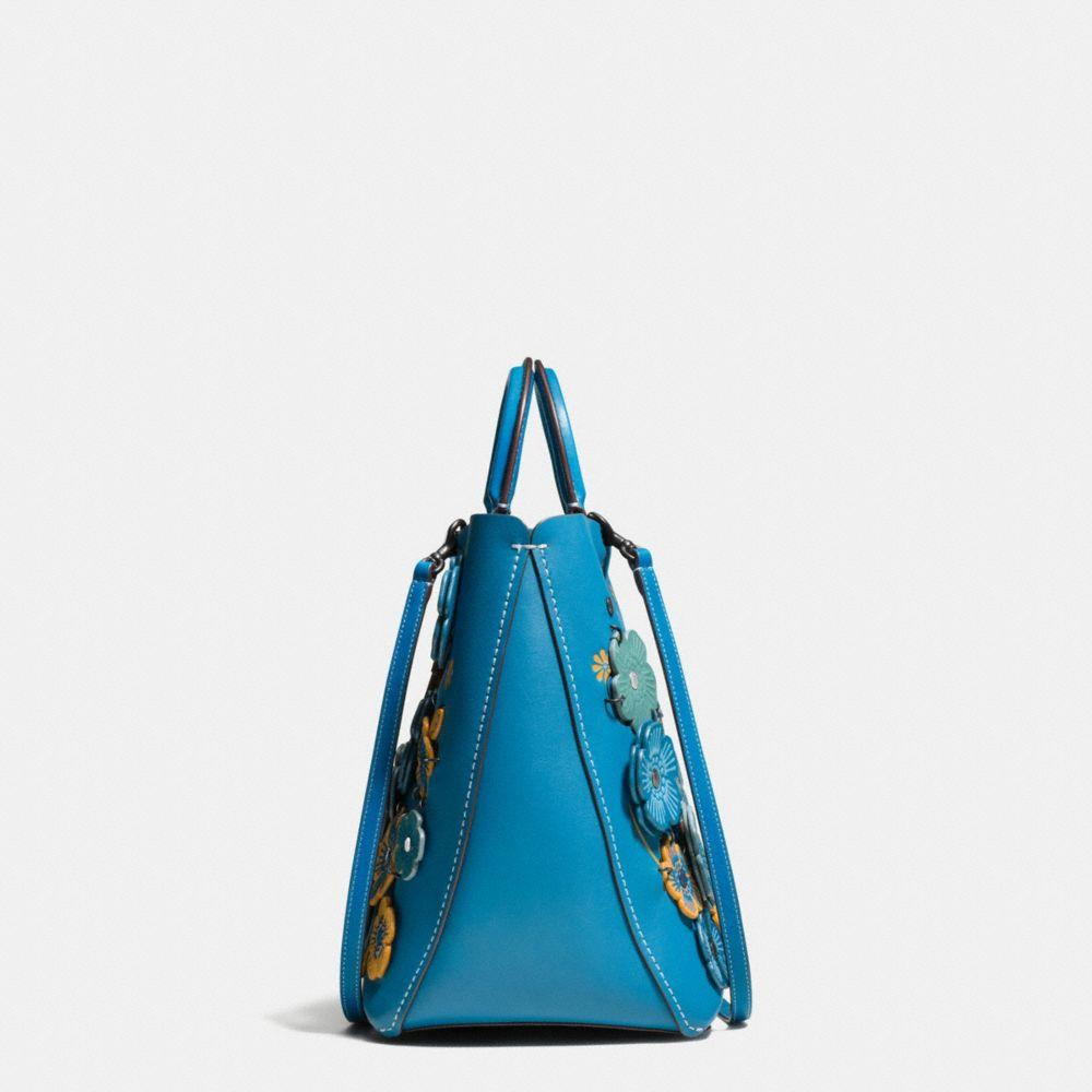 COACH Leather Rogue Tote With Linked Tea Rose In Glove Calf in Black Copper/Dark Turquoise (Green)
