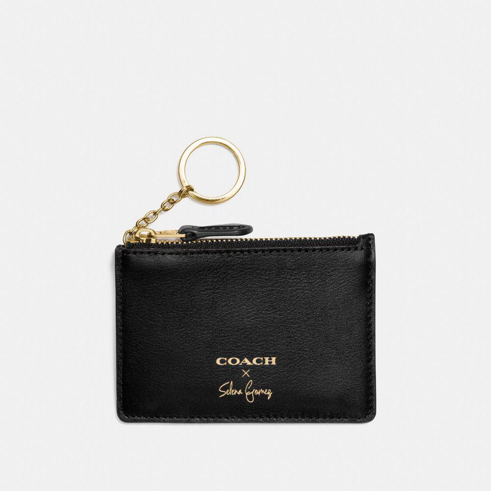 70498c376511 Lyst - COACH Selena Mini Skinny Id Case In Refined Calf Leather in Black