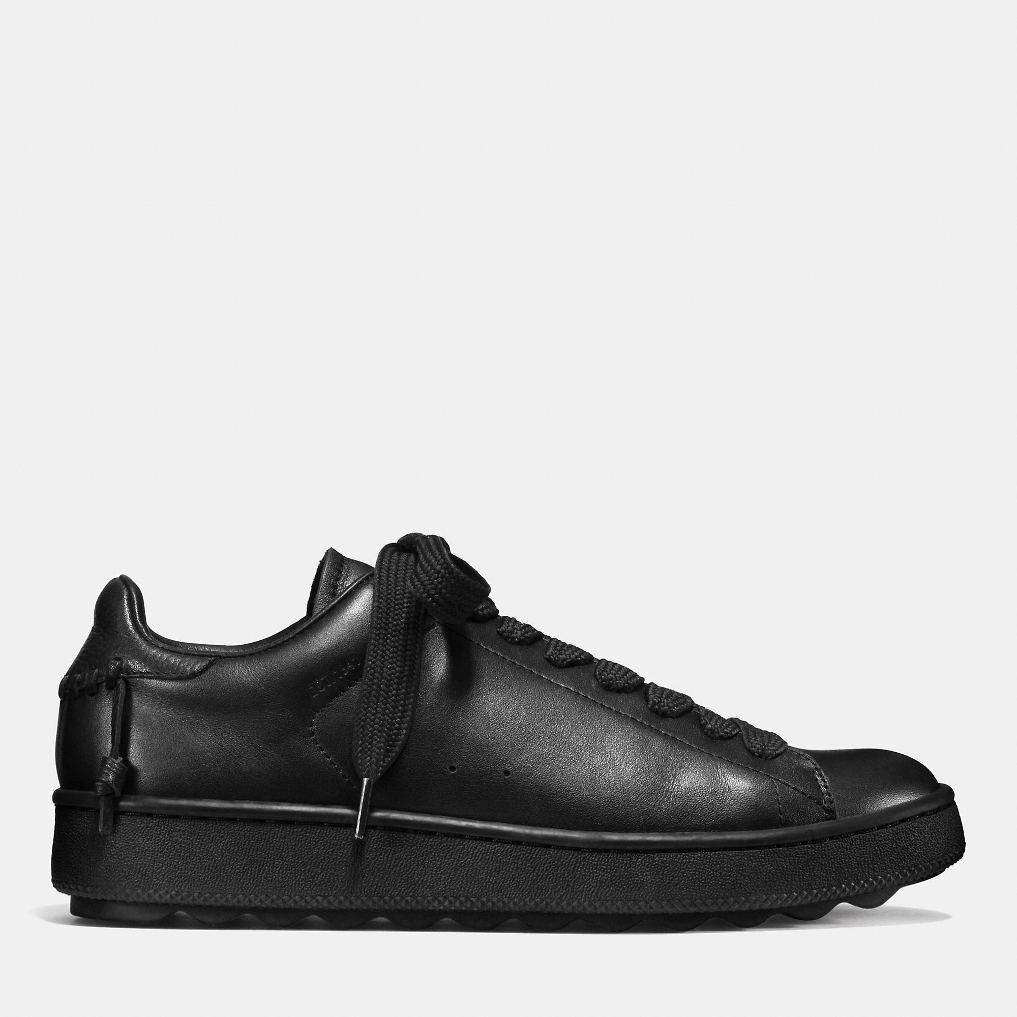 Coach Leather Low Top Sneaker In Black Black Black For