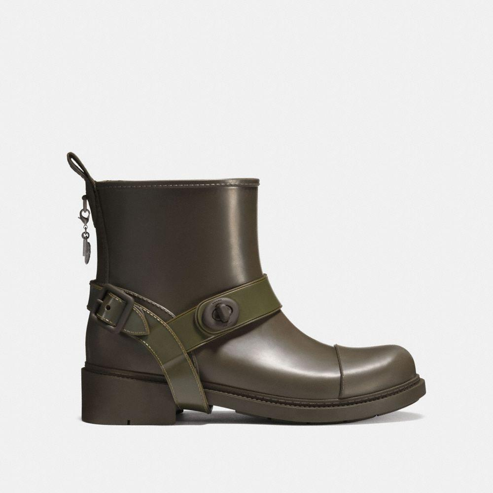 COACH Rubber Moto Rain Bootie in Olive (Green)