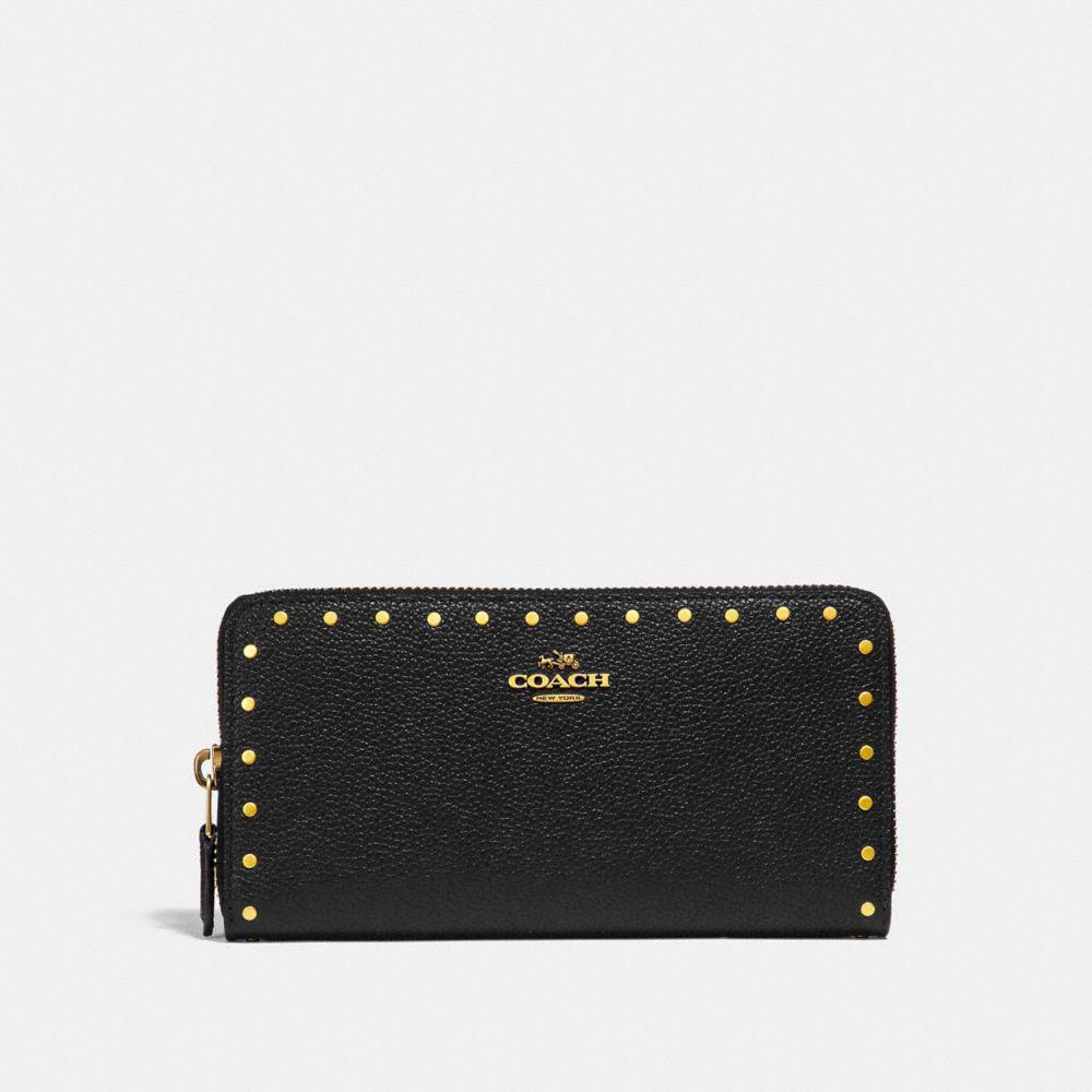 9281b2c534 COACH - Black Accordion Zip Wallet With Rivets - Lyst. View fullscreen
