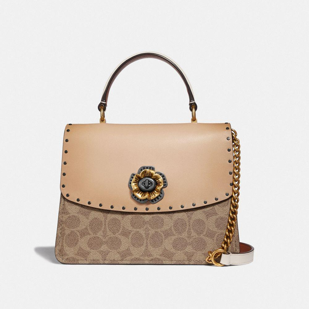 95632445ca9c COACH Parker Top Handle In Signature Canvas With Rivets - Lyst