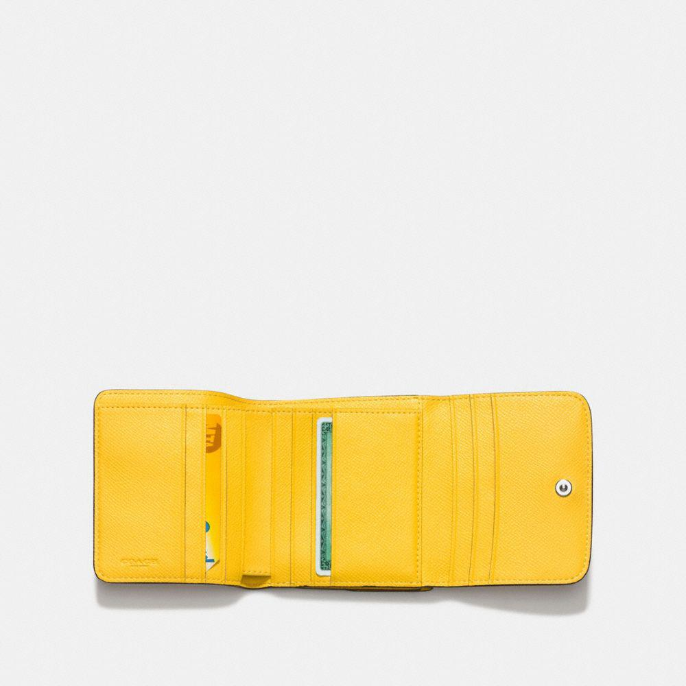 a21e164709 Lyst - COACH Crossgrain Leather Small Wallet in Yellow