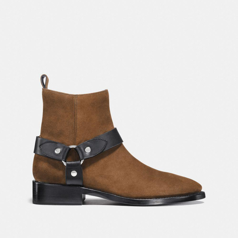 COACH Suede Harness Boot in Brown/Black (Brown)