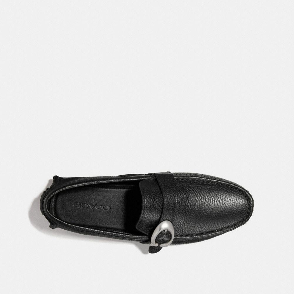 COACH Leather Crosby C Buckle Driver in Black for Men