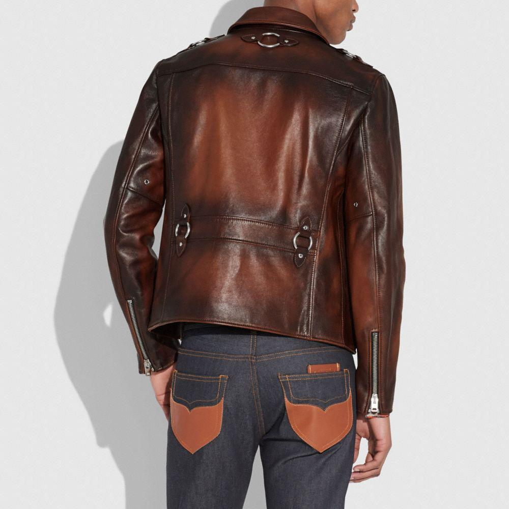COACH Burnished Leather Sheriff Jacket in Brown for Men