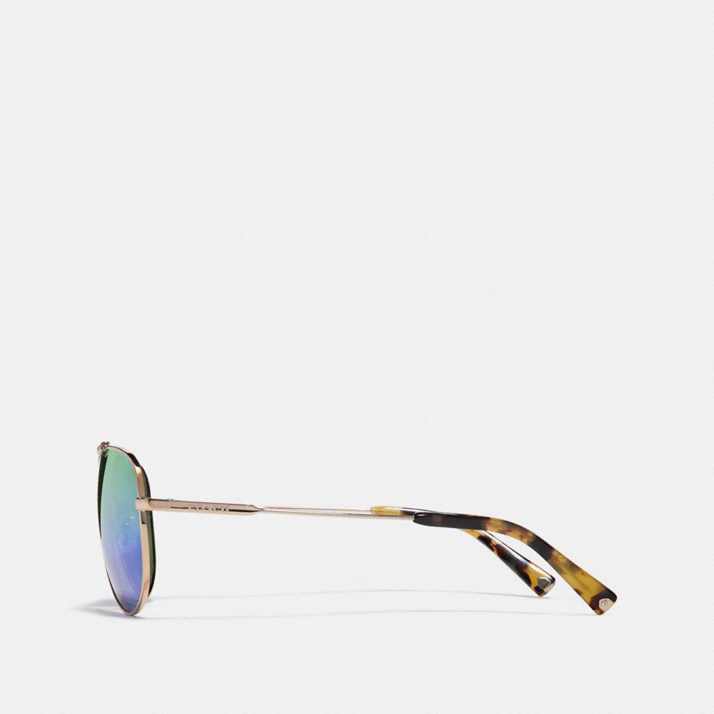 COACH Wire Frame Pilot Sunglasses in Green