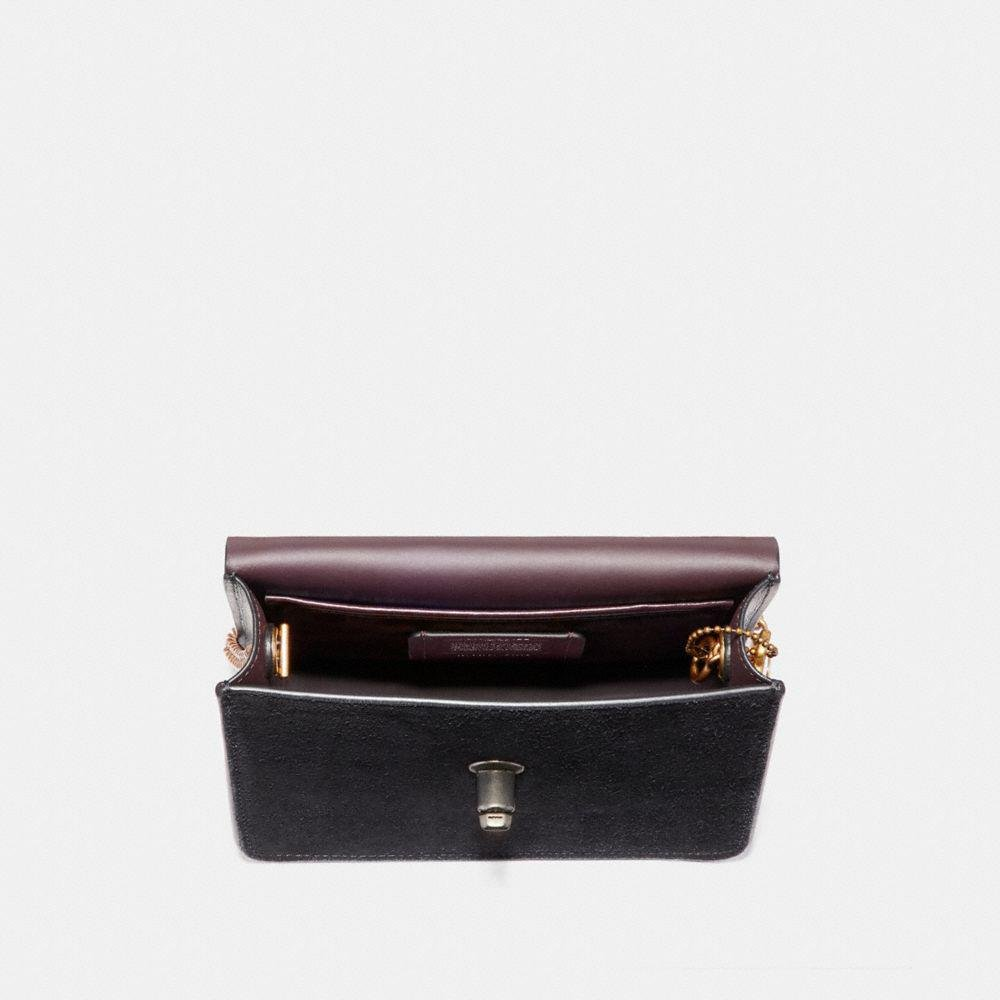 COACH Leather Bowery Crossbody With Tea Rose Turnlock in Black