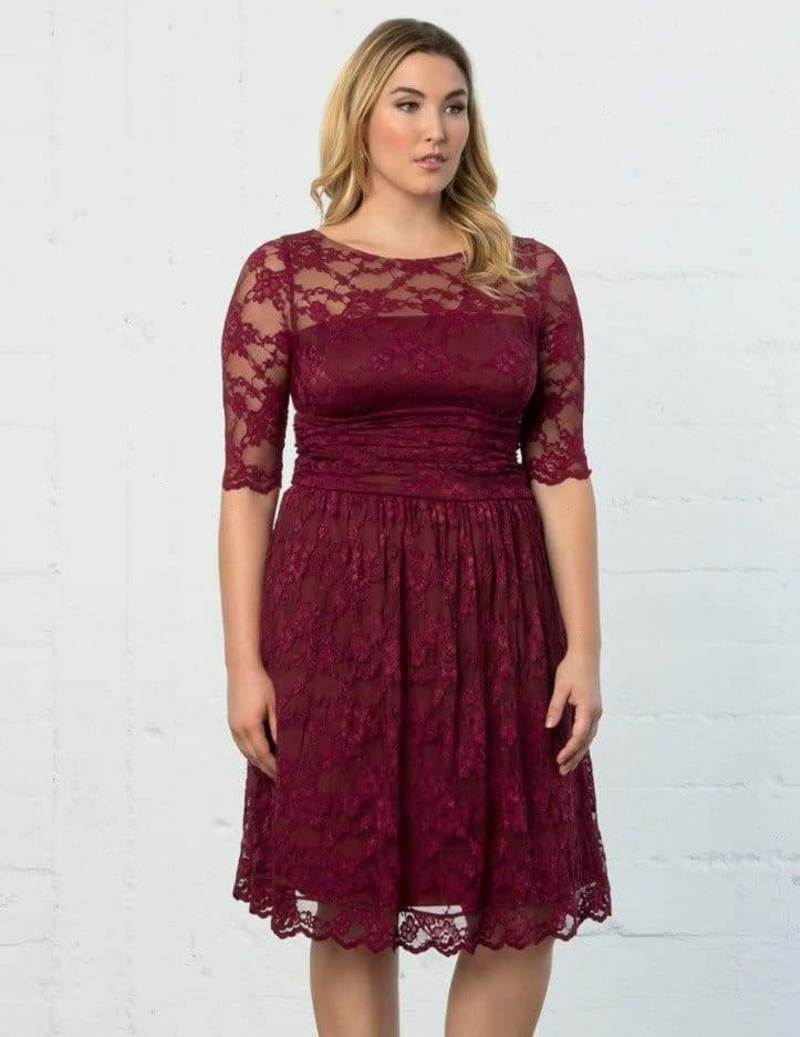 26d3f3acd13 Lyst - Kiyonna Luna Lace Dress in Red