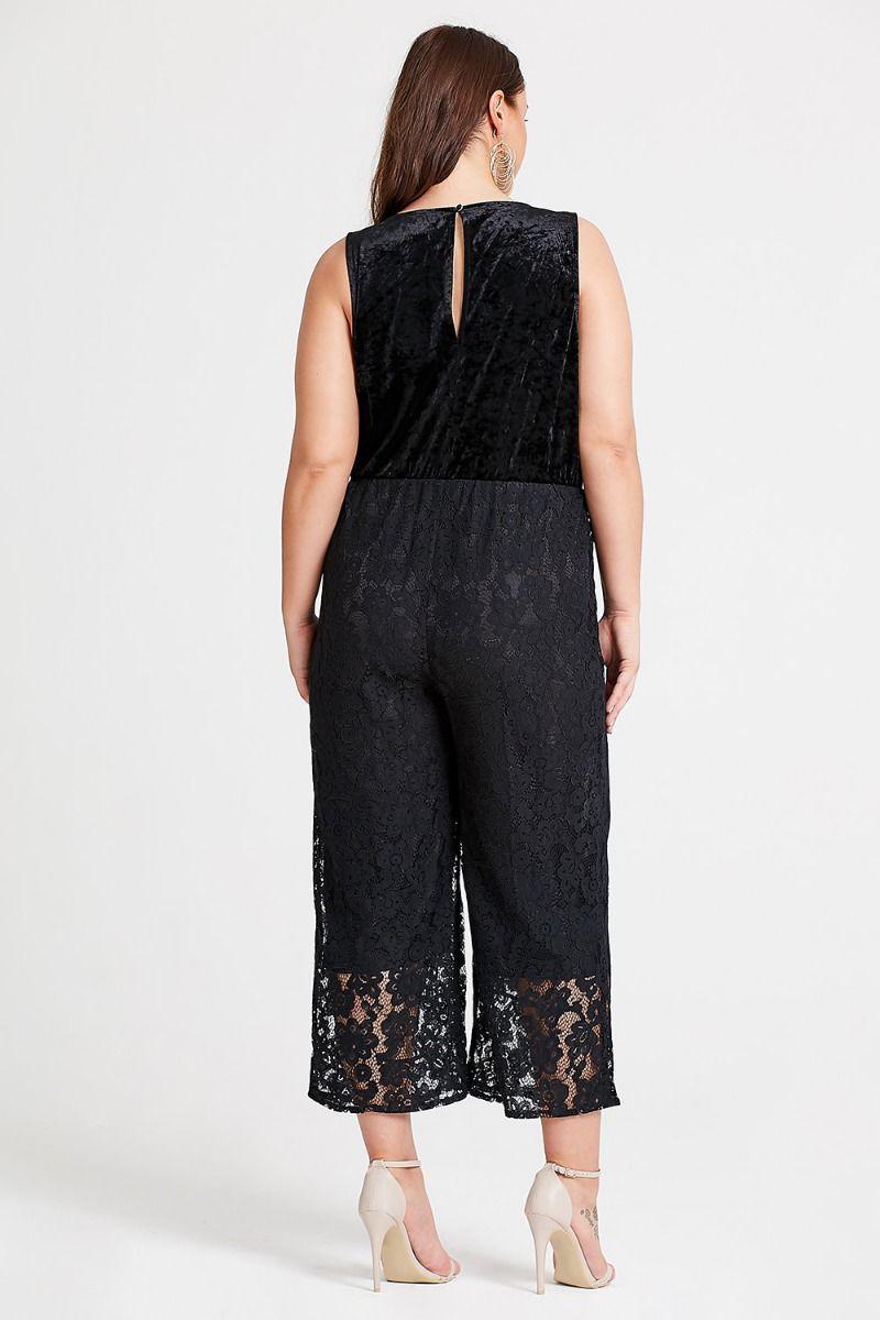 c73f4e7945e1 Lyst - Elvi Aurora Cropped Lace Jumpsuit in Black