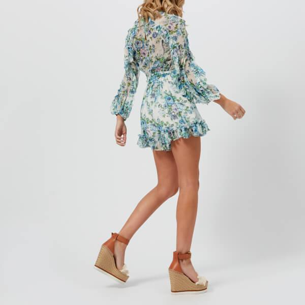 c474509a020 Lyst - Zimmermann Breeze Ruffled Floral-print Silk Playsuit in Blue