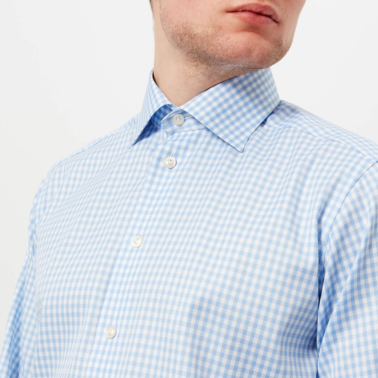 Eton of Sweden Cotton Contemporary Fit Extreme Cut Away Gingham Check Shirt in Light Blue (Blue) for Men