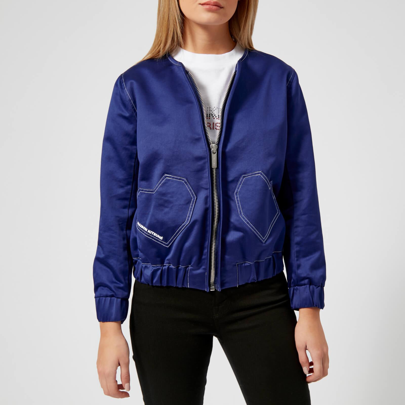 Maison Kitsun 233 Cotton Heart Teddy Jacket In Blue Lyst