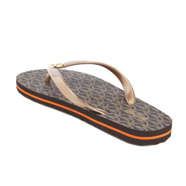Michael Michael Kors Womens Mk Flip Flops In Brown - Lyst-8858