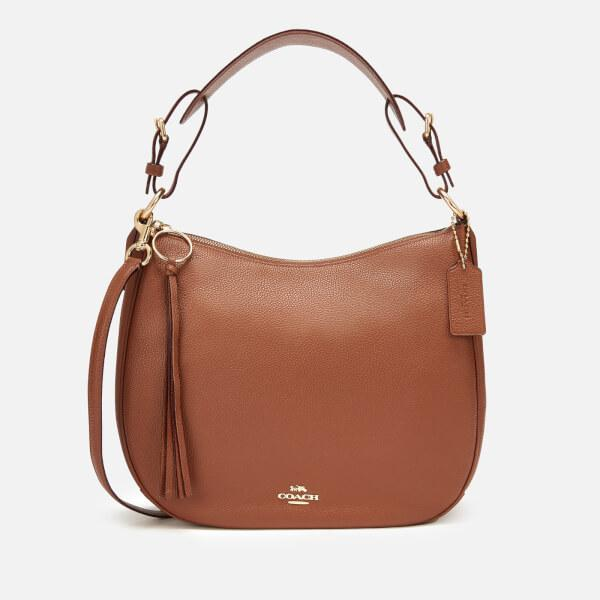 d6b6cac5d038 COACH Women s Polished Pebble Leather Sutton Hobo Bag in Brown - Lyst