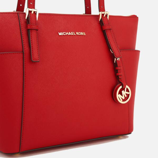 MICHAEL Michael Kors Leather Women's Jet Set East West Top Zip Tote Bag in Red