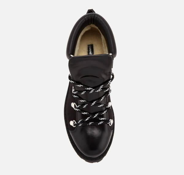 86693958566 Ganni Black Women's Alma Hiking Style Flat Boots