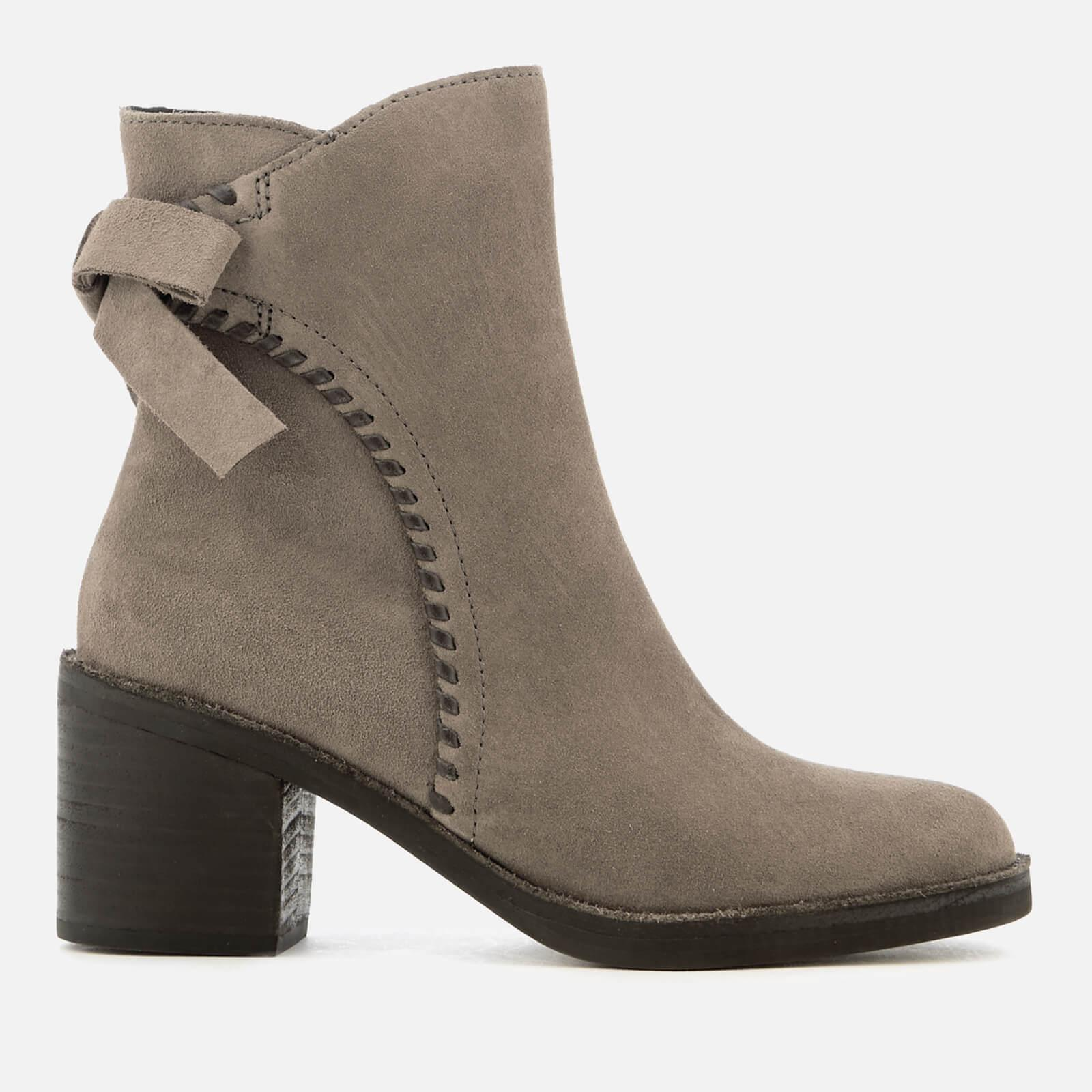05c894e41f8 Women's Gray Fraise Whipstitch Suede Heeled Ankle Boots