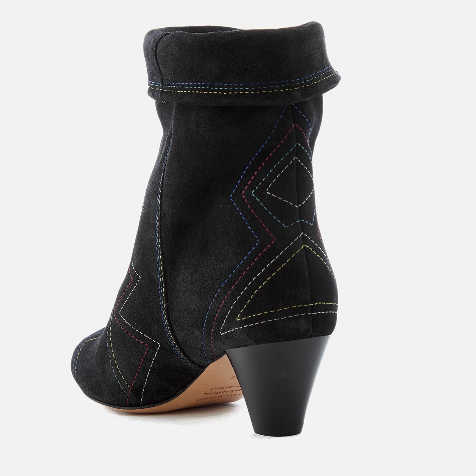 Isabel Marant Dyna Suede Fold Over Heeled Boots in Black