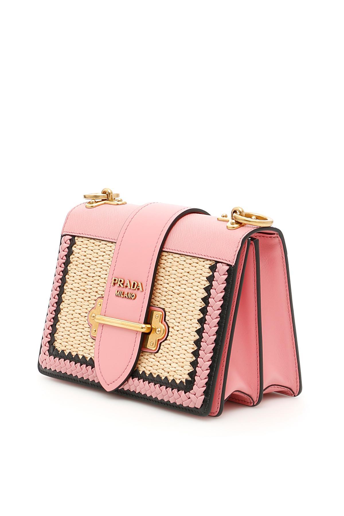 a047a0019b79 ... wholesale prada pink calfskin and straw cahier bag lyst. view  fullscreen 732e1 ecd32