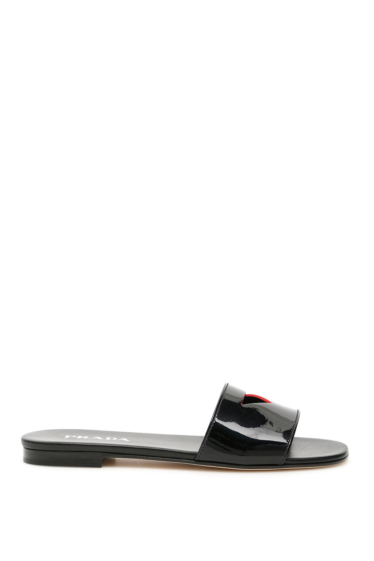 53684ce4de5c7b Lyst - Prada Patent Slides With Cut-out Triangle in Black