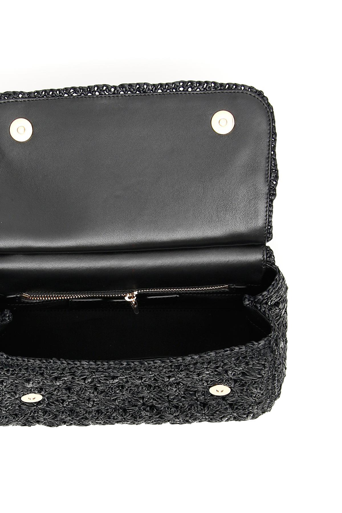 Dolce   Gabbana - Black Crochet Raffia Sicily Bag - Lyst. View fullscreen 3133c5d83be8d