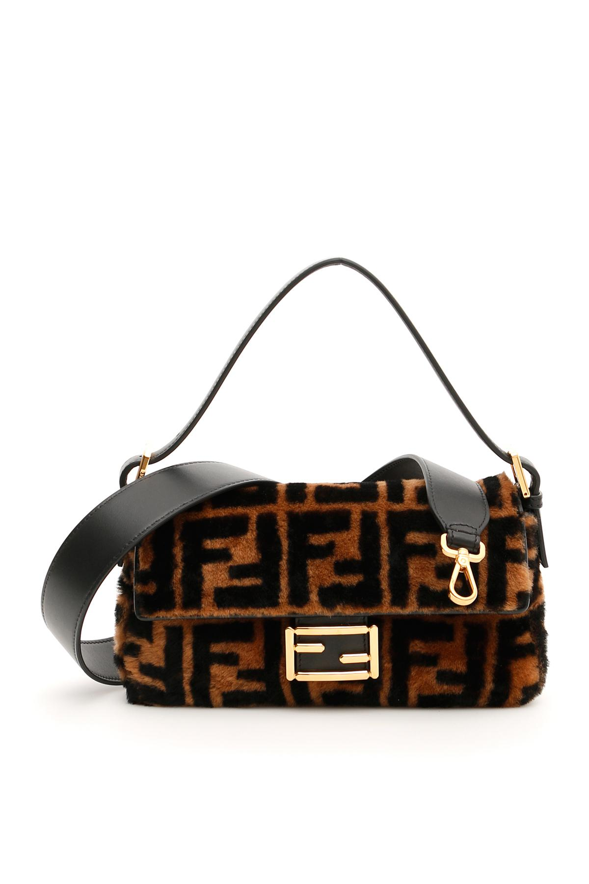 b0d09704d9 Fendi Black Shearling Ff Baguette Bag