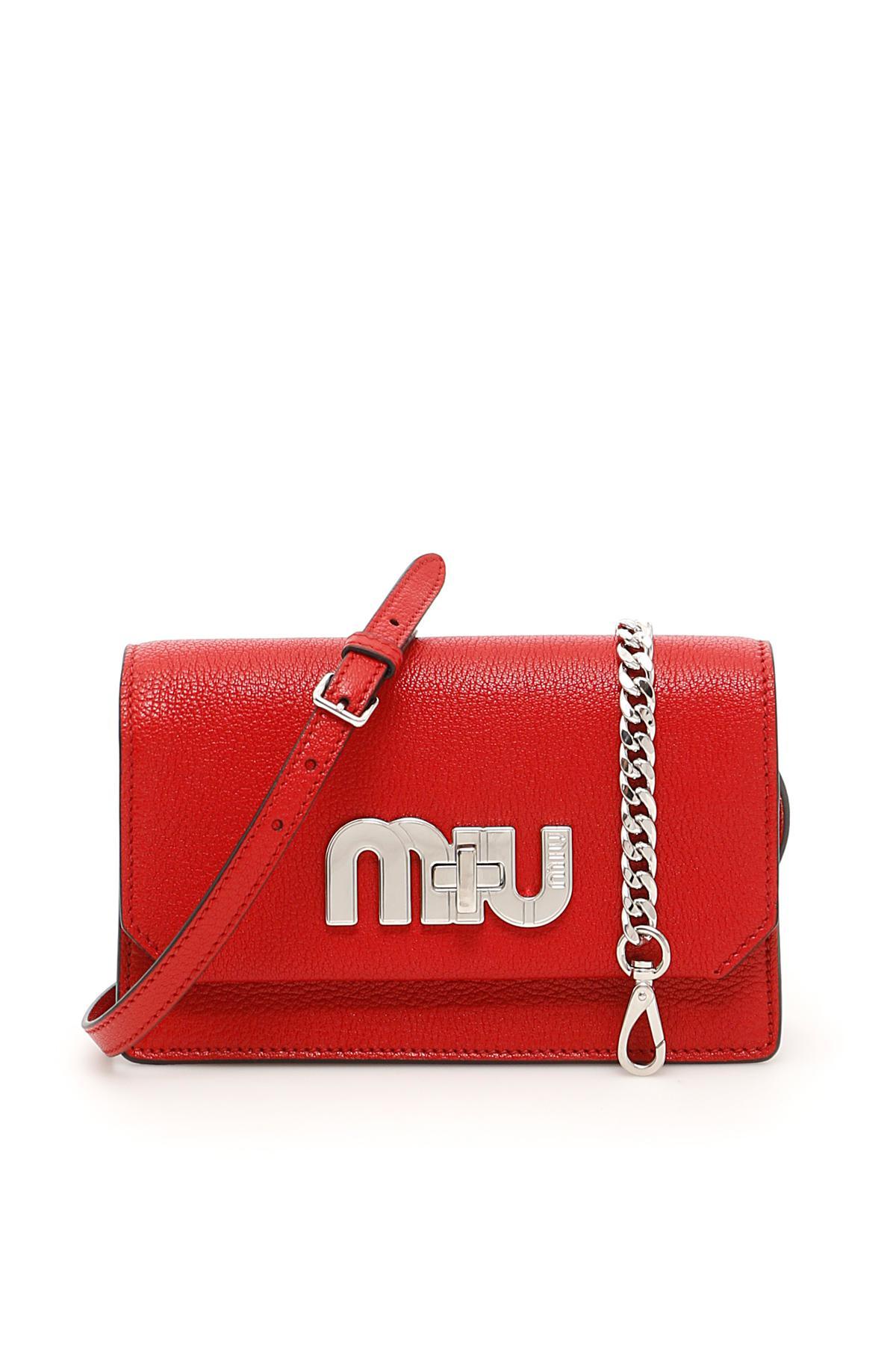 980eb86f733 Lyst - Miu Miu Miu Logo Madras Bag in Red