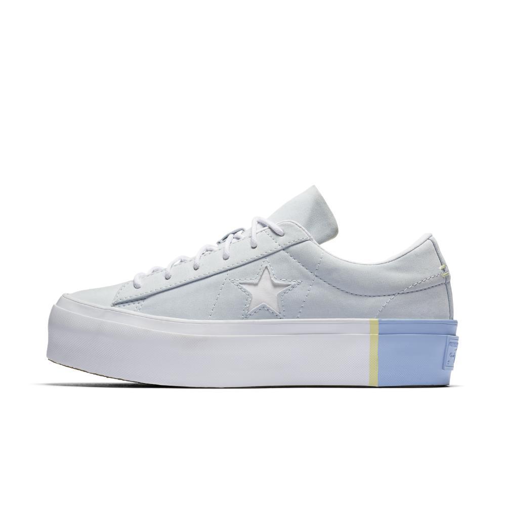 Lyst - Converse One Star Platform Blocked Low Top Women s Shoe in Blue 60655911c