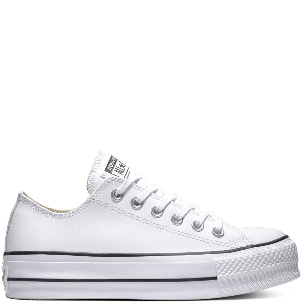 dd1b235d1d51d Converse Chuck Taylor All Star Leather Platform Low Top in White - Lyst