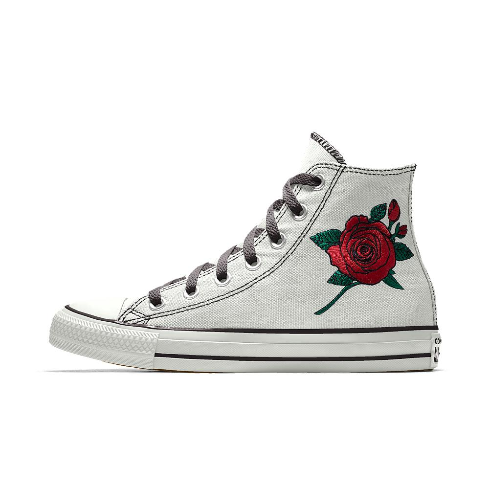 cd2e874f59347 Converse White Custom Chuck Taylor All Star Rose Embroidery High Top Shoe