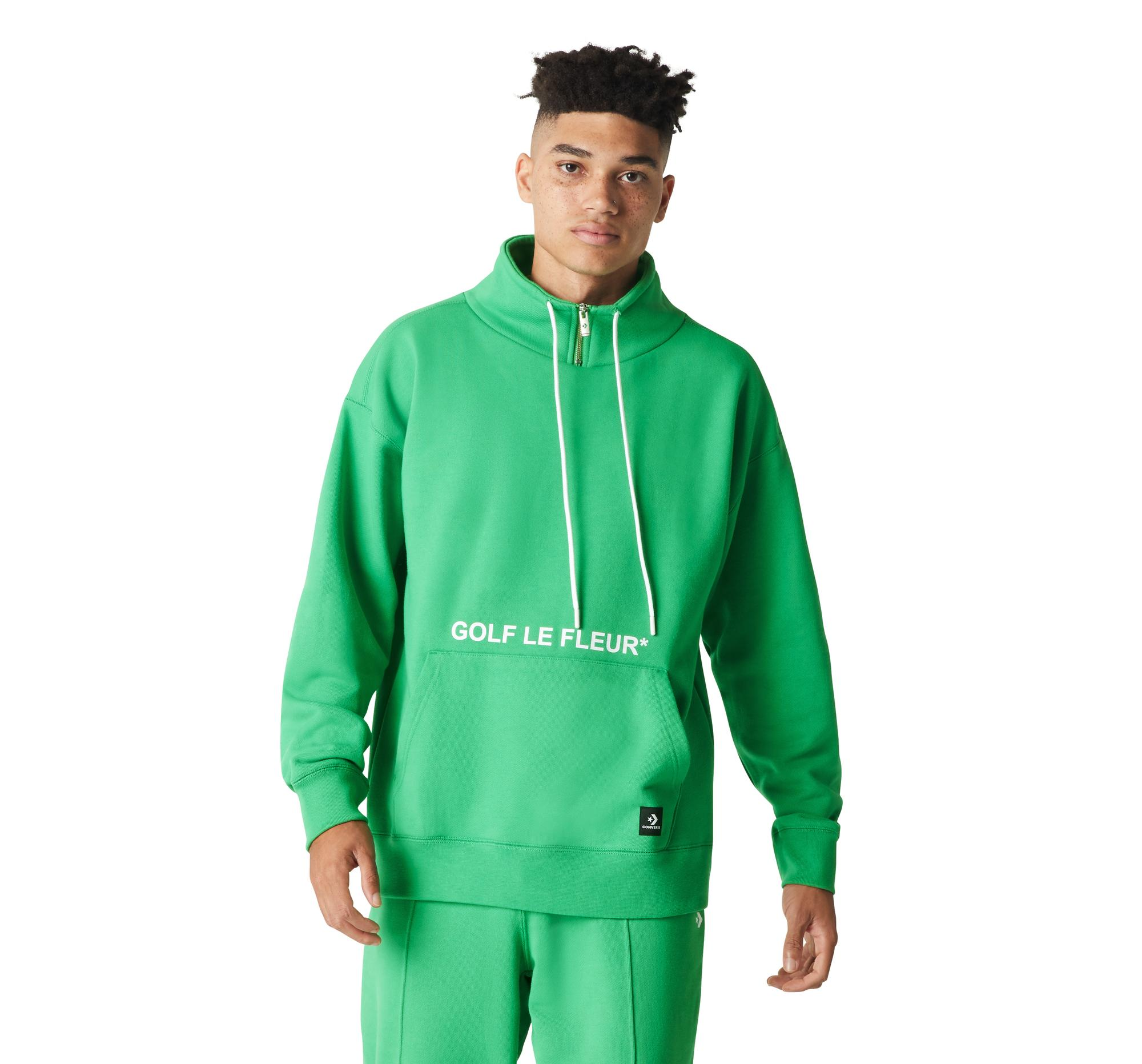 Converse X Golf Le Fleur 1 4 Zip Pullover In Green For Men Lyst