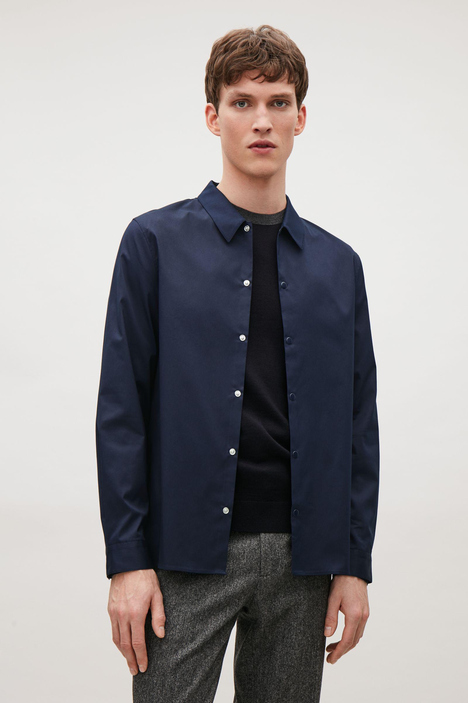 Lyst cos press stud shirt in blue for men for Dress shirt studs uk