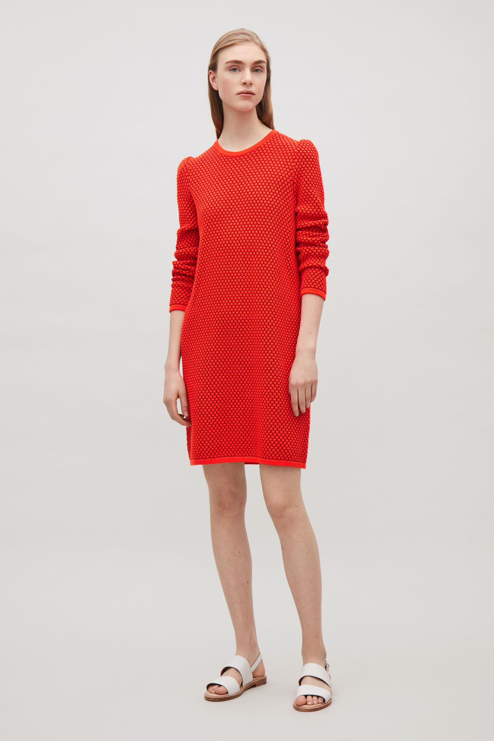 adf7990d3a3d COS Raised Knit Dress in Red - Lyst