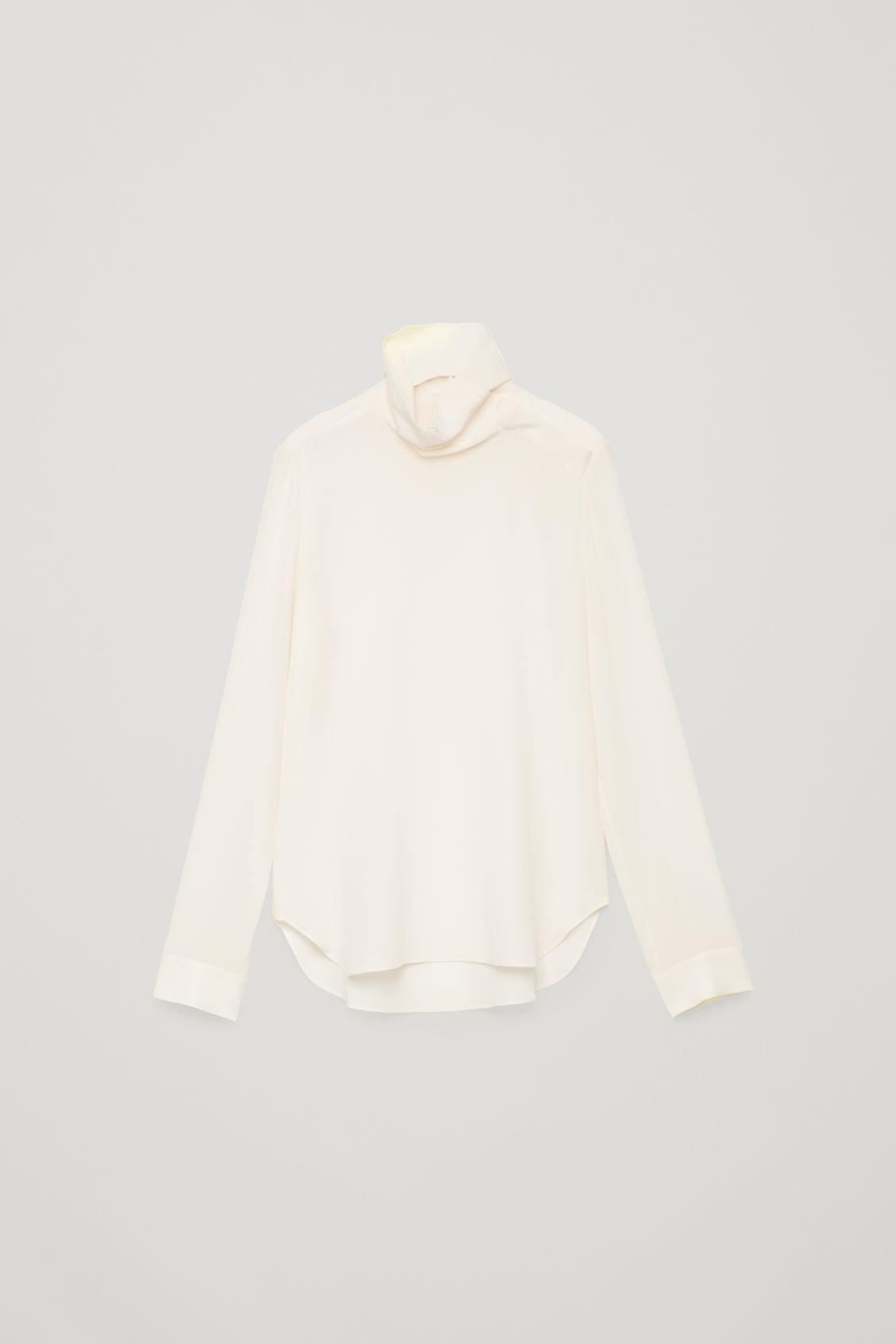ba628c074657 Lyst - Cos High-neck Silk Blouse in White