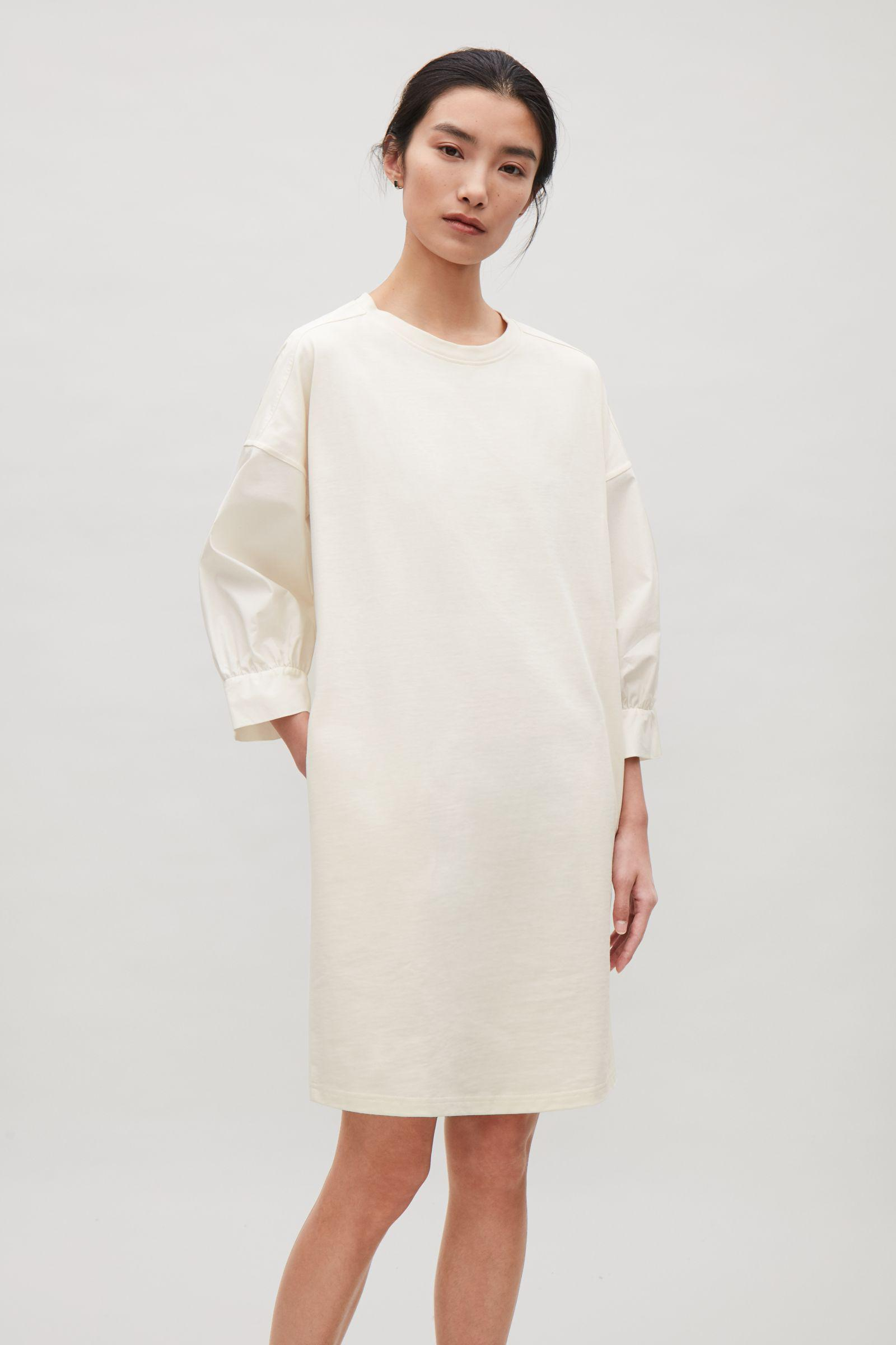 2d4cdd2132f7 COS Cotton Jersey And Poplin Dress in White - Lyst
