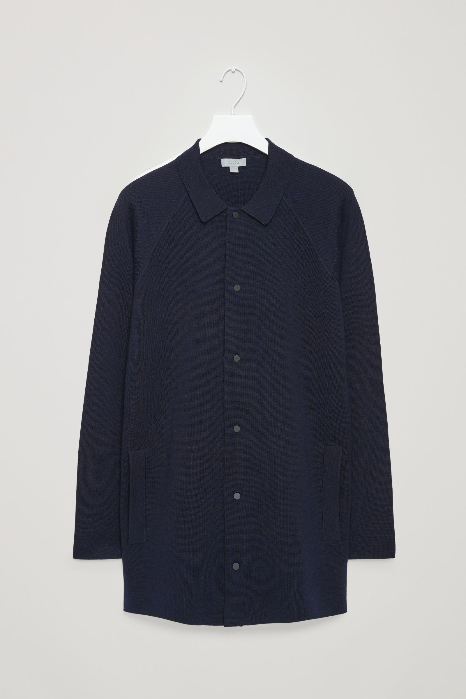 COS Wool Long Cardigan Jacket in Navy (Blue) for Men