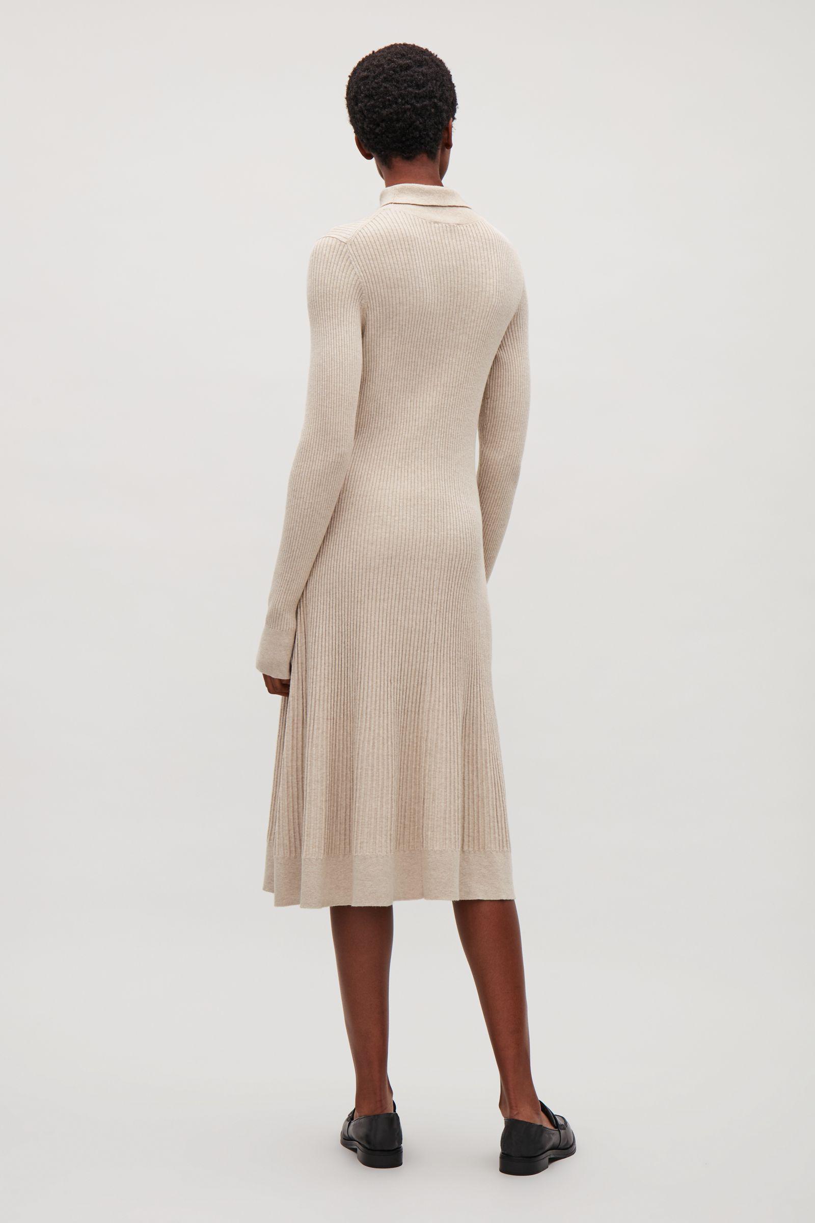 80c7040d3740 COS Rib-knit Dress in Natural - Lyst