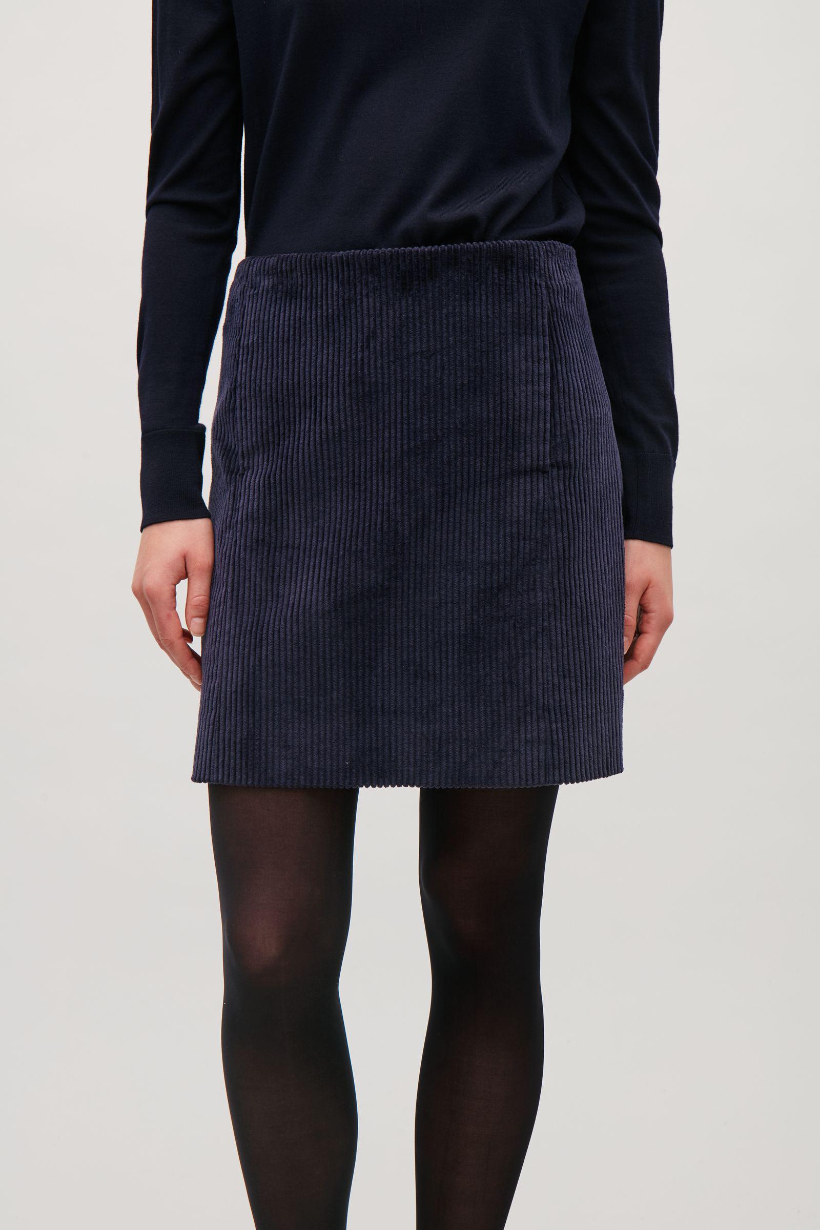 Cos Short Corduroy Skirt In Blue Lyst