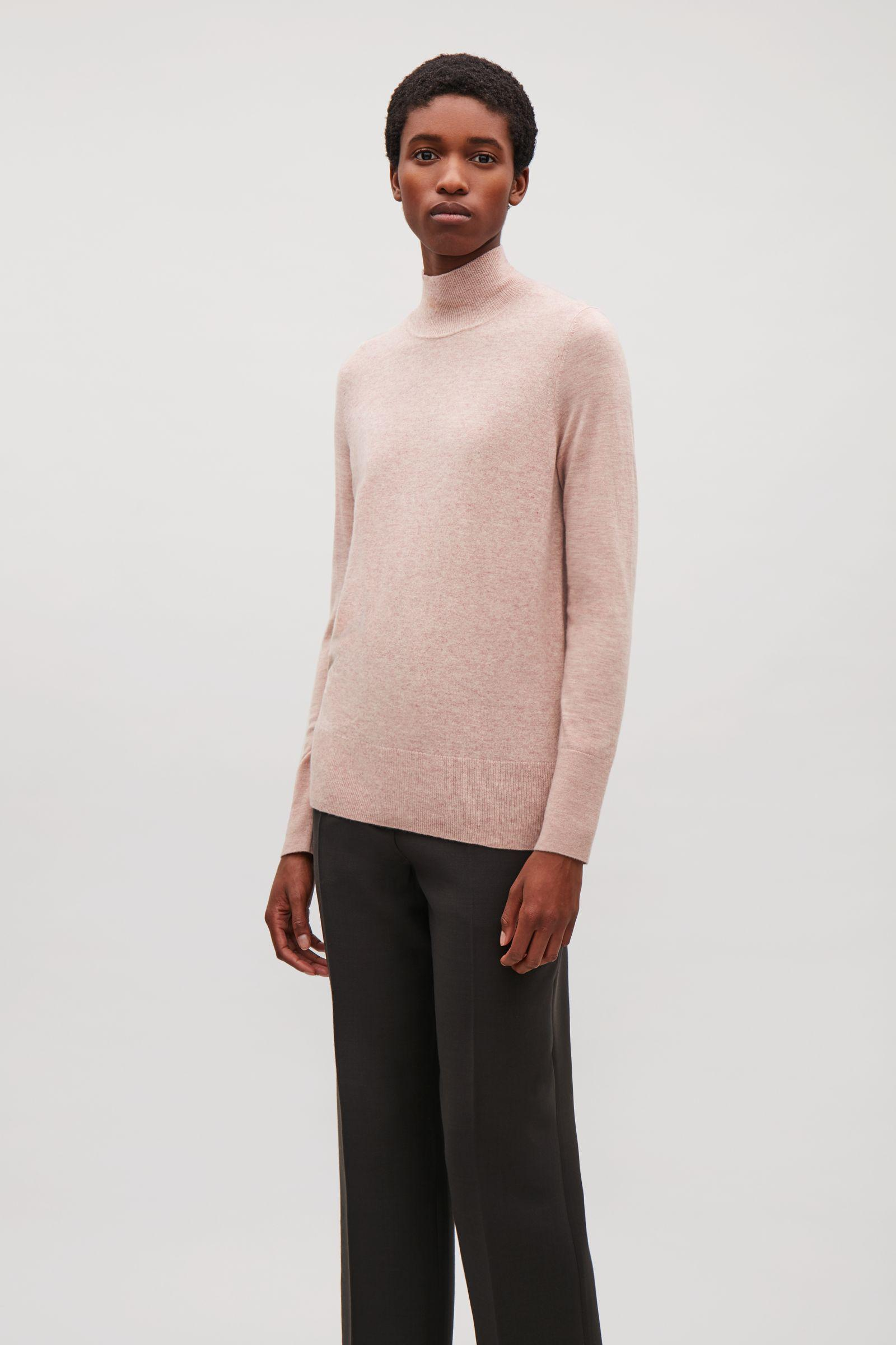 885f23a24fc1 COS High-neck Cashmere Jumper in Pink - Lyst