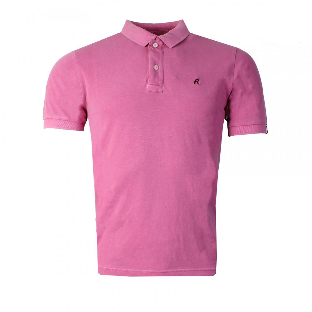 7fdb172d1ce2 Lyst - Replay Garment Dyed Pique Mens Polo Shirt in Pink for Men