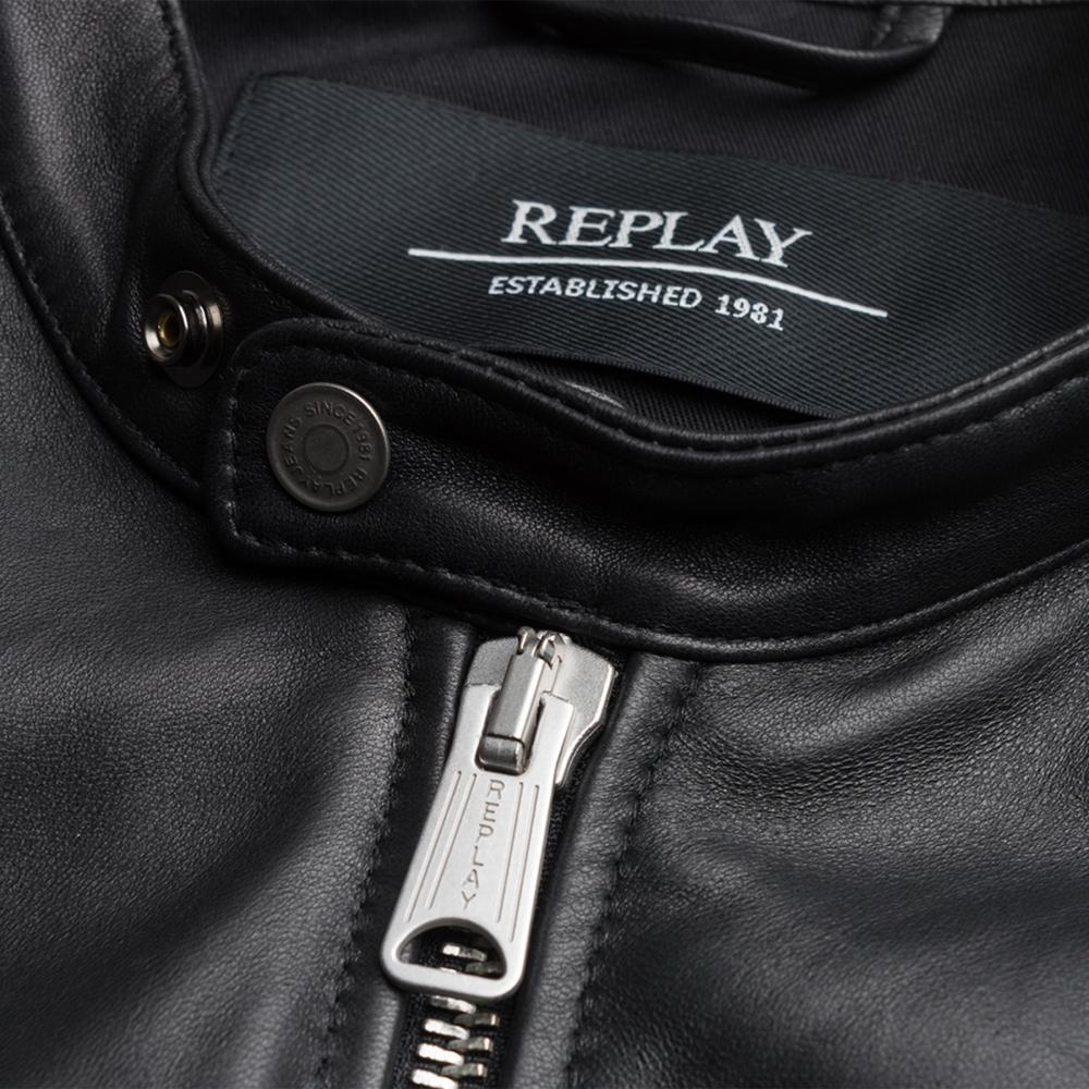Replay Crust Mens Leather Jacket in Black for Men