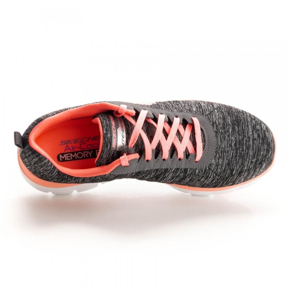 Skechers Synthetic Flex Appeal 2.0 New Image Womens Trainer in Black Coral (Black)